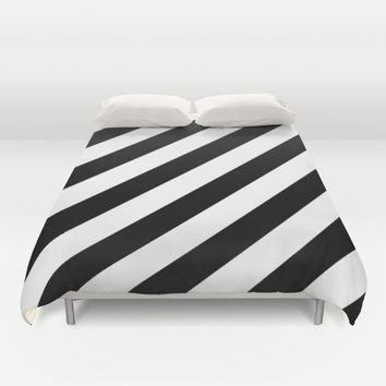 Diagonal Stripes Black & White Duvet Cover by SimplyChic