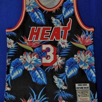 DCCK Heat Mitchell & Ness 3 Wade Floral Fashion NBA Jerseys