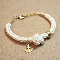 Anchor bracelet with knot, knit cord bracelet with anchor charm, cotton bracelet