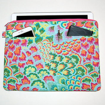 MacBook Pro 13, MacBook Air, MacBook 12, Surface Pro 3/4, iPad Pro, iPad Padded Case Cover - Peacock Feathers