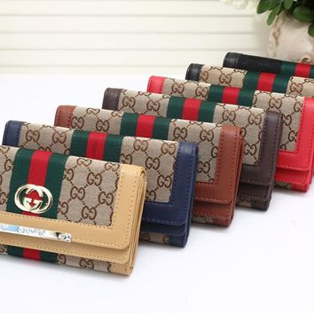 """Gucci"" Women Fashion Classic Multicolor Stripe Long Section Three Fold Purse Button Flip Wallet Handbag"