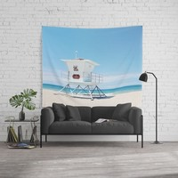 Lifeguard tower Carlsbad 35 Wall Tapestry by sylviacookphotography