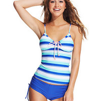 Hobie Striped Tie-Front Tankini Top & Boyshort Swim Bottom