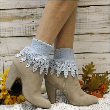 SIGNATURE lace socks - chambray blue