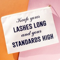 Keep Your Lashes Long And Your Standards High - Makeup Bag, Pouch/Wristlet