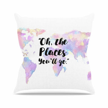 "Kess Original ""The Places You'll Go "" Purple Yellow Outdoor Throw Pillow"