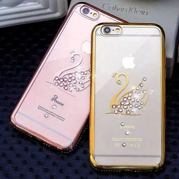 Swarovski Crystal Diamond Case For iPhone 6s 6 Plus 6Plus 6s 7 Plus iPhone 7 Gold Plating Bling Rhinestone Peacock Phone Cases