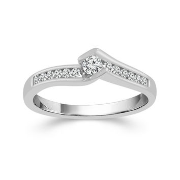 10K White Gold 1/4cttw Round Half Bezel Set Diamond Engagement Ring