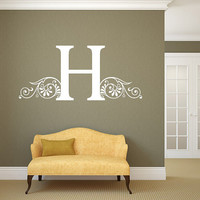 Personalized Family Name Initial Wall Decal Monogram #27 Living and Family Room Vinyl Wall Decal Graphics Bedroom Home Decor