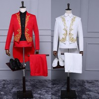 Red and black and white golden embroidery tuxedo suit party chorus performance conductor clothing host men's dress