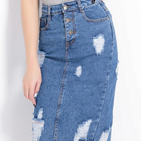 Blue Ripped High Waist Button Up Denim Pencil Skirt