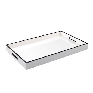 White with Black Trim Lacquer Breakfast Tray