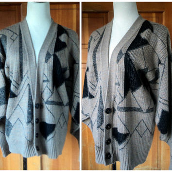 Vintage 80s Sweater Geometric Oversize Cardigan Grandpa Sweater Unisex Big Sweater Hipster Knit Sweater XXL 44