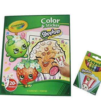 Shopkins Coloring Set to Go with 8 Crayola Shopkins Crayons and 1 Sticker Page SH001