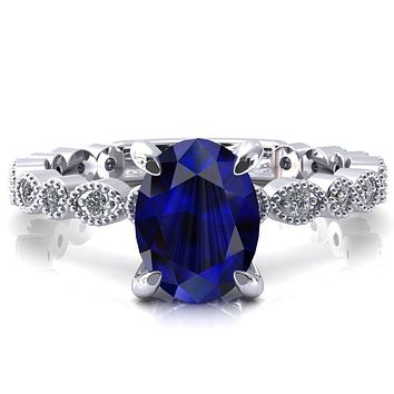 Polaris Oval Blue Sapphire 4 Claw Prong Diamond Halo Full Eternity Engagement Ring