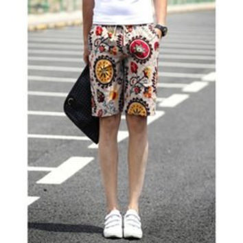Slimming Stylish Lace-Up Compass Print Narrow Feet Linen Blend Shorts For Men