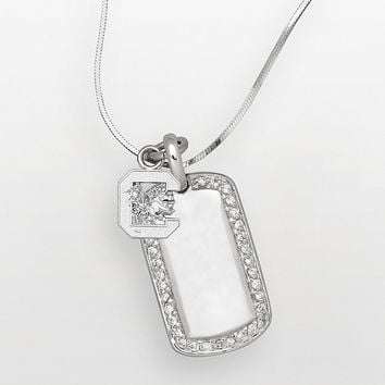 South Carolina Gamecocks Sterling Silver Cubic Zirconia Dog Tag Pendant (White)