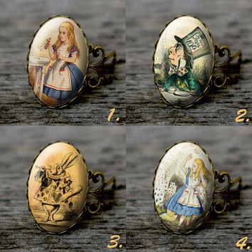 Alice in Wonderland - vintage style adjustable ring