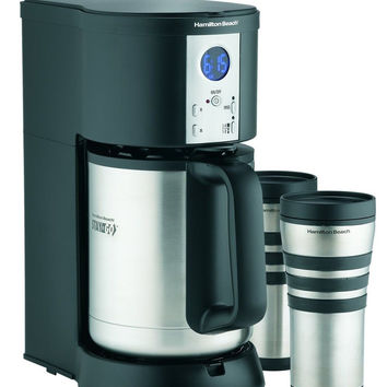 Hamilton Beach Coffee Maker Stay or Go Digital with Thermal Insulated Carafe ...