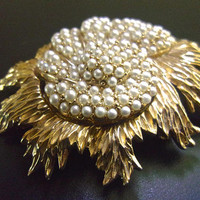 Seed Pearls Floral LEDO Brooch, Gold Tone, Dimensional, Vintage