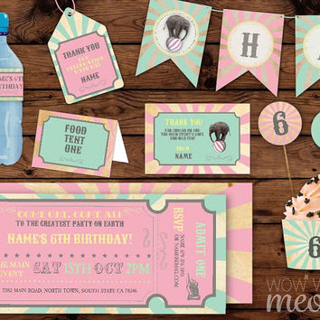Circus Party Package Birthday Carnival Invitations Girls Pastel