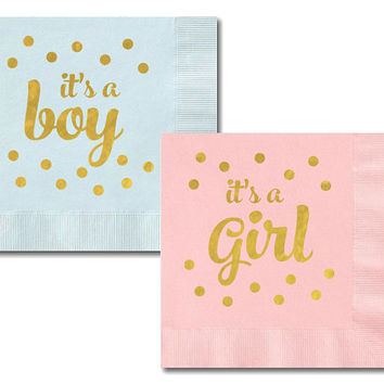 Baby Shower Napkins (set of 25) - Metallic Gold It's A Boy/Girl Napkins - It's a Girl Baby Shower Decorations  -It's a Boy Baby Shower