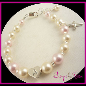 Cross Bracelet Charm Pearl Girls, Baby and Toddler. Great for Baptism, Christening, new baby shower gift, Frist communion.