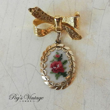 Vintage Petit Point Floral Bow Pin, Dangle Embroidery Oval Flower Brooch, 1950's Jewelry