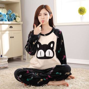 ONETOW Winter Women Casual Flannel Pyjamas Sets Cartoon Cat Fish Round Neck Long Sleeve Home Clothing Pajama Nightgown Sleep suit