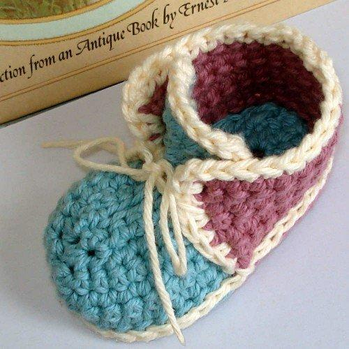 Crochet Pattern Baby Booties Vintage High from ...
