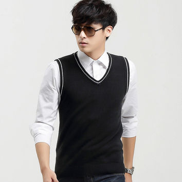 Mens Casual Pullover V-Neck Sweater Vest