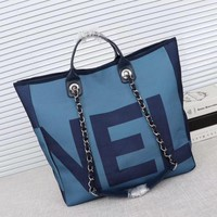 CHANEL WOMEN'S HOT STYLE CLOTH PRINTING TOTE BAG INCLINED SHOULDER BAG