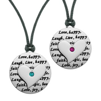 Heart Inspirational Medallions Live Laugh Love Couples or Best Friends Amulets Green Pink Cord Necklaces