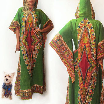 Vintage 1960s 1970s Hooded Green Boho Hippie Dashiki Angel Sleeve Maxi Festival Dress || Size Small Medium