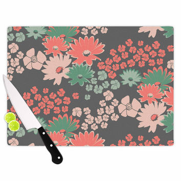 "Zara Martina Mansen ""Natures Bouquet"" Coral Green Cutting Board"