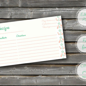 INSTANT DOWNLOAD~Vintage girly recipe card, Editable PDF~ 4.13x5.83