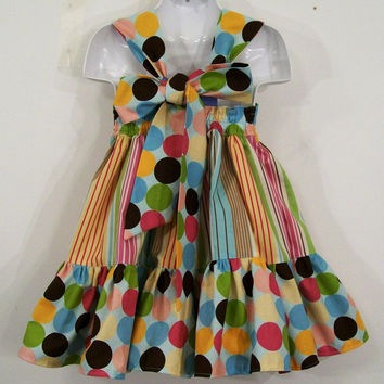 Baby Girls Cotton Year Round Dots and Stripe Reverse Knot dress #236