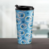 Blue Owl Travel Mug - Funny Cute Blue Owl Pattern - 15oz Stainless Steel - Made to Order