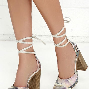Seychelles Drift Light Floral Leather Lace-Up Heels