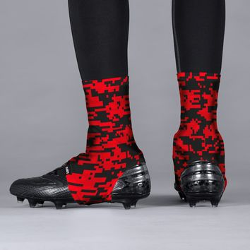 Digital Camo Red Beast Spats / Cleat Covers