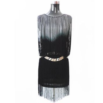 1920s Flapper Dress Summer Sleeveless Casual Party Vintage Dress Silver Waist Trim Diamond Fringe Mini Sundress