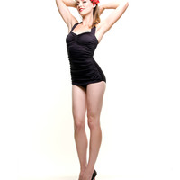 BEST SELLER! Vintage Inspired 1950s Black Sheath Swimsuit