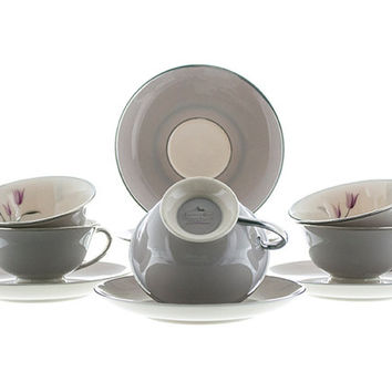 Vintage Franciscan Cups and Saucers 5 Sets Claremont Pattern Lavender Gray Platinum Edges Verge Handles Fine Bone China Pink Tulip Flower