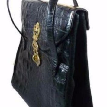 Vintage Black Faux Alligator Handbag Large Murray Kruger 1970s