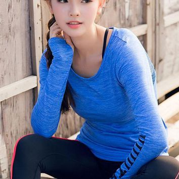 Light and shiny breathable letter printing Sports and leisure fitness long-sleeved female T-shirt top back hollow