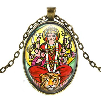 Goddess Durga of Divine Force Huge Talisman with Chain Necklace
