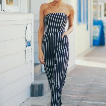 Strapless Pocket Jumpsuit Black