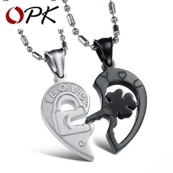 OPK His & Hers Matching Set Open Your Heart Couple Necklace Titanium Stainless Steel Lovers Jewelry Black, DM845
