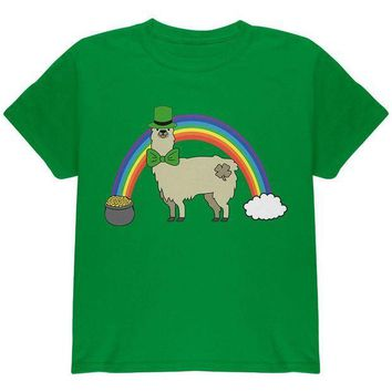 CREYCY8 St. Patrick's Day Llama Cute Pot Of Gold Youth T Shirt