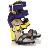 Anthracite Metallic Nappa, Yellow Leather and Violet Suede Wedges | Kaya | Spring Summer 15 | JIMMY CHOO Shoes